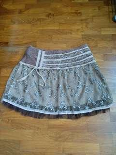 Preloved brown laced skirt