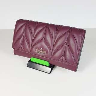 Clearance Sale! Kate Spade - Milou Briar Lane Quilted Deepplum Wallet with Short Chain