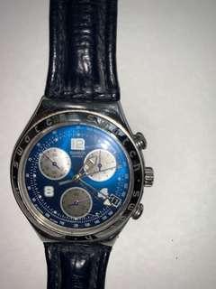 Swatch steel chrono, blue dial