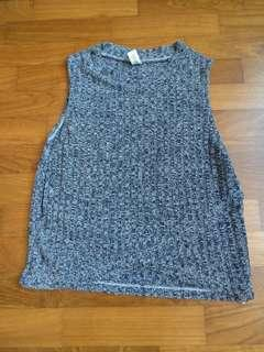 Preloved blue sleeveless ribbed top