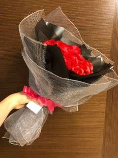 Red Soap Roses Heart Bouquet