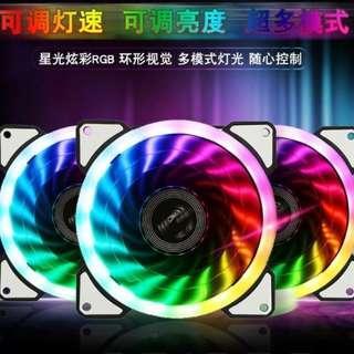 雙光環RGB風扇特價~買五個送控制器跟遙控器(可變化160個變色方式)