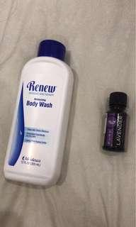 renew body wash + lavender essential oil