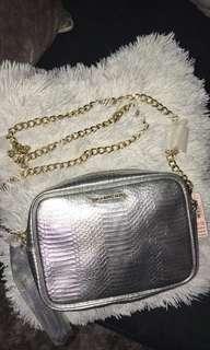Victoria secret purse silver gold chain