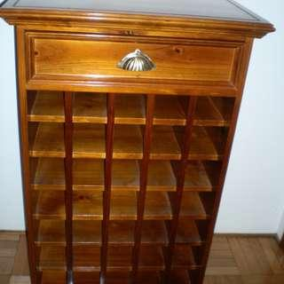 WINE RACK TIMBER CABINET HOLDS 35 BOTTLES TEAK GLOSS