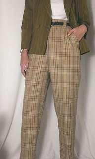 Checkered Straight cut vintage pants