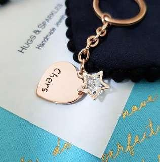 🚚 Hand Stamped Personalised Heart & Star Charms Bag Charm / Keychain (Rose gold gift)