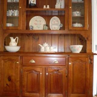 SOLID TEAK TIMBER  KITCHEN DRESSER WITH ONE DRAWER AND LEADLIGHT DOORS