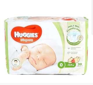 Huggies 尿片 0碼 + 送10塊散裝 bb唔岩著 平賣