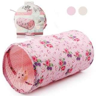 AFP CAT TOYS TUNNEL PINK COLOR WITH PRINTED FLOWER DESIGN