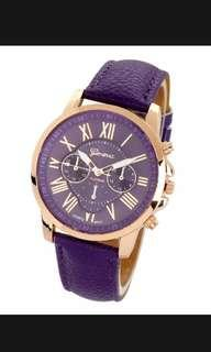 Women Geneva Roman Numeral Faux Leather Anolog Quartz Watch Purple colour fashion gift for her #MMAR18