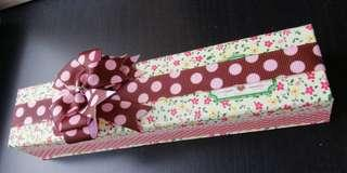 Long rectangular shape gift box floral ribbon present watch case casing
