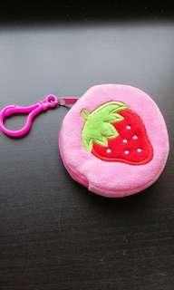 Strawberry pink coin pouch accessories small bag hanging Cameron Highlands