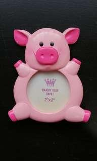 Pink Pig round photo frame piglet cute small picture piggy baby #MMAR18