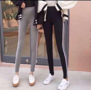 🚚 INSTOCK minimalist basic simple black grey stripe streetwear leggings / jeggings / long pants