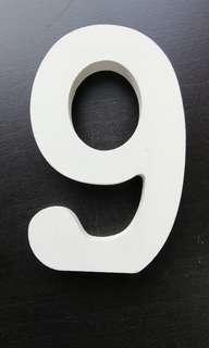 Number nine 9 white wooden alphabet letter standing word decoration