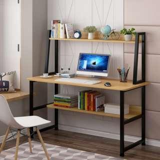 電腦桌台式桌家用簡約一體桌子簡易學習小書桌書架組合學生寫字桌
