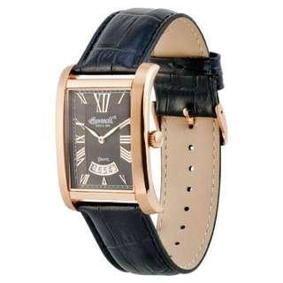 全新-INGERSOLL (SINCE 1892) INQ-011BKRS DAY DATE 羅馬字石英錶皮帶