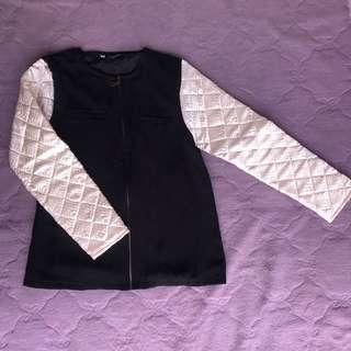 outerwear jacket black n white