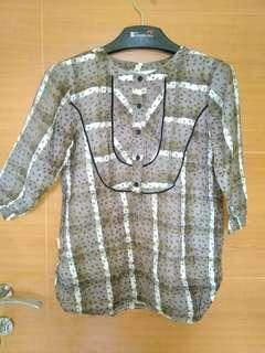 #SuperDeal (Preloved) Blouse coklat (Kode:043)