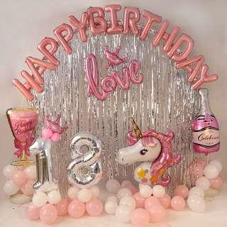🚚 Happy birthday party balloon decoration setup for baby and adult