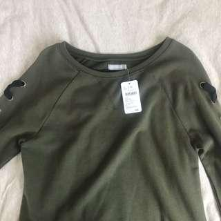 6ixty8ight army green lace up pullover sweater ulzzang korean long sleeve top