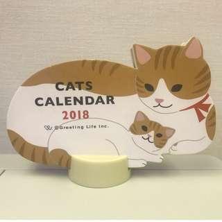Cats Calendar 2018 (單面, 年份已過, 純為收藏)