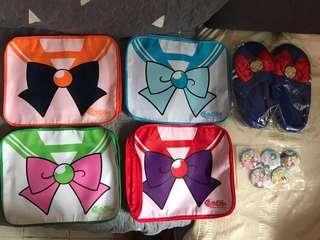 美少女戰士 衣服收納袋(4件) 家居拖鞋 襟章(5個)