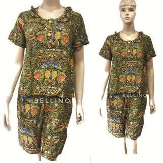 Baju Santai /Daster Setelan Celana Pendek Motif Batik Baladewa Solo