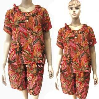Baju Santai /Daster Setelan Celana Pendek Batik Baladewa