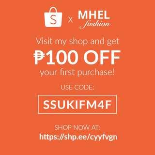 Get ₱100 OFF on Shopee!