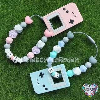 Handmade Gameboy teether with customised name + beads carrier accessory