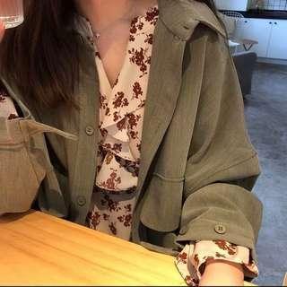全新-軍綠外罩外套