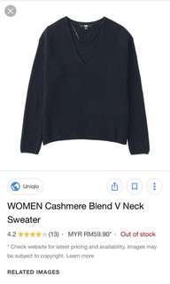 Uniqlo cashmere blend v neck knit