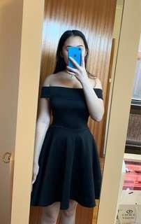 Boohoo black off the shoulder mini dress