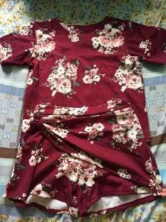 Maroon floral terno