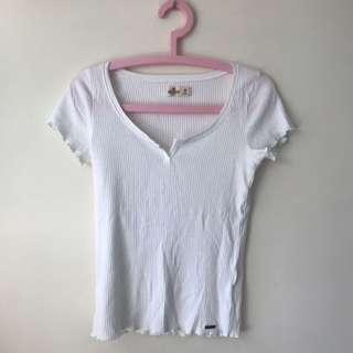 Hollister White T top ribbed material