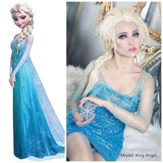 DISNEY Frozen Queen Elsa Cosplay Costume Rental - Halloween / Party / Event / Annual Dinner / Birthday (Movie Character)