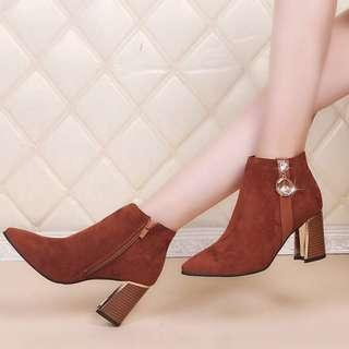 Women Suede Rhinestone Ankle Boots