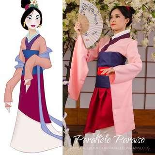 Disney MULAN Matchmaking Pink Dress Cosplay Costume Rental - Halloween / Party / Event / Annual Dinner / Theme Costume (Movie Character)