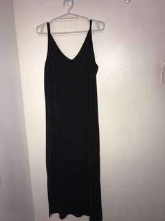 Long Black Dress w/ mini side slit