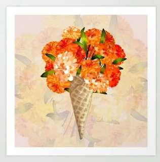 Flower Cone Graphic Design Art Prints Wall Home Office Decor
