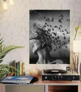 Flock of Crows Graphic Design Art Prints Wall Home Office Decor