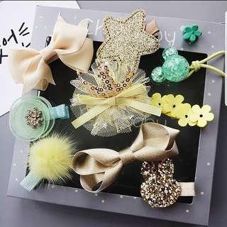 (Set8) 10pcs Green Hair Clip Accessories Set Baby Girl Children Glitter Ribbon Heart Star Crown Tiara Headband Hair Band