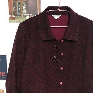 🚚 古著 深紅暗紫 線條迷宮圖騰 小正式外套
