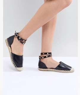 Truffle Collection Studded Ankle Strap Espadrilles