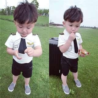 🚚 2 pcs Boy Pilot short sleeve suit