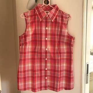 DICKIES Sleeveless Plaid Shirt