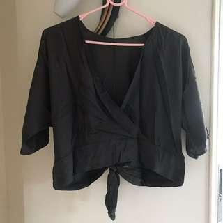 Grey Crop Top with Back Tie
