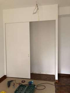 Partition wall and cubboard